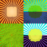 Sunburst Retro Textured Grunge Background Set. Stock Image