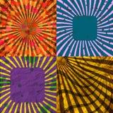 Sunburst Retro Textured Grunge Background Set. Stock Photos
