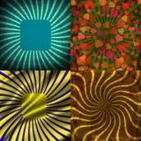 Sunburst Retro Textured Grunge Background Set. Royalty Free Stock Image
