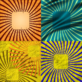 Sunburst Retro Textured Grunge Background Set. Royalty Free Stock Images