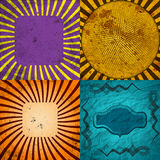 Sunburst Retro Textured Grunge Background Set. Stock Photography
