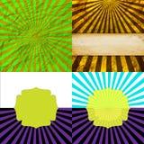 Sunburst Retro Textured Grunge Background Set. Royalty Free Stock Photos