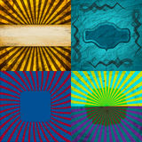 Sunburst Retro Textured Grunge Background Set. Stock Photo