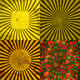 Sunburst Retro Textured Grunge Background Set. Royalty Free Stock Image