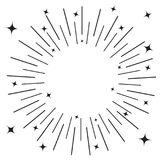 Sunburst round black line circle. Shining effect with stars. Abstract shape. Empty template. Retro bursting rays. Decoration eleme Royalty Free Stock Photos