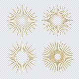 Sunburst set gold glitter style  on transparent background. Firework explosion, star, rays of light collection. Vector Illustration 10 eps Royalty Free Stock Photos