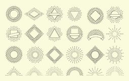 Sunburst set. Vintage burst radial emblem. Sunrise explosion frames. Sunshine vector hipster graphic isolated. Sunburst set. Vintage burst radial emblem. Sunrise vector illustration