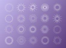 Sunburst set white color isolated on background for logo. Tag, stamp, logotype, emblem, t shirt, banner. Firework explosion, star. Vector Illustration 10 eps Stock Photos