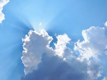Sunburst on the sky. Beautiful view of the sky with sun and clouds Royalty Free Stock Photos