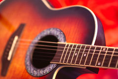 Sunburst solid body guitar. Detail of the neck Royalty Free Stock Photos