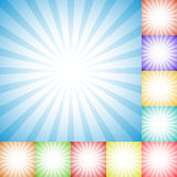 Sunburst, starburst pattern set in 10 colors - Radial, convergin. G lines, stripes empty backgrounds - Royalty free vector illustration Royalty Free Stock Photos