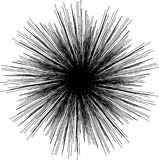 Sunburst, starburst shape black on white. Design element. Radiating radial merging lines, stripes or fireworks. Abstract circular geometric pattern. Vector stock illustration