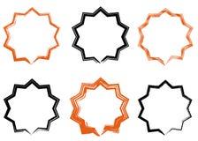 Sunburst vector badges set, stars, brush strokes. Sunburst vector badges set. Isolated on white background, brush strokes stock illustration