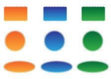 Colorful sunburst vector badges set. Sunburst vector badges set. Isolated on white background royalty free illustration