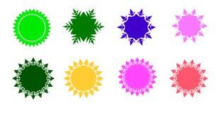 Colorful sunburst vector badges set. Sunburst vector badges set. Isolated on white background vector illustration
