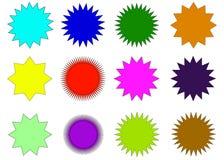 Colorful sunburst vector badges set. Sunburst vector badges set. Isolated on white background stock illustration