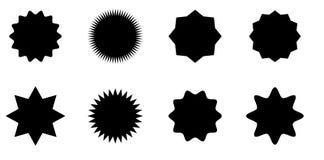 Sunburst vector badges set, stars. Sunburst vector badges set. Isolated on white background royalty free illustration