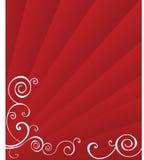 Sunburst vermelho com redemoinhos Imagens de Stock Royalty Free
