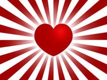 Sunburst vermelho do coração Imagens de Stock