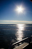 Sunburst Water View from Pontoon Boat. View of the Chincoteague Bay from Pontoon Boat with sunburst Stock Images