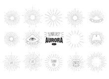 ` Sunburst zorzy ` Ustawiający Retro słońce wybuch kształtuje dla twój następnego rocznika projekta projekta royalty ilustracja