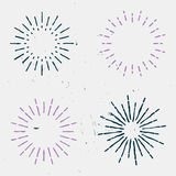 Sunbursts. Collection of retro sunbursts, vintage style. Old-fashioned light rays, vector stock Stock Images
