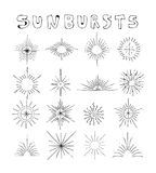 Sunbursts hand drawn vector set line art illustration Editable S Royalty Free Stock Image