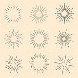 Sunbursts. Retro sun rays, vintage sunbursts, set / collection of old light rays, vector illustration Stock Photo