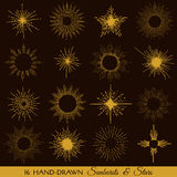 Sunbursts and Stars. Hand-drawn illustration in vector Royalty Free Stock Photo