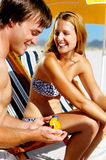 Suncare couple Stock Image