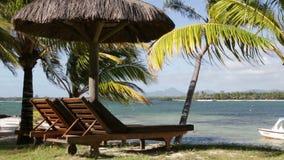 Sunchair in zonnig strand in Mauritius stock videobeelden