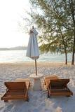 Sunchairs and umbrella on Beach Royalty Free Stock Photo