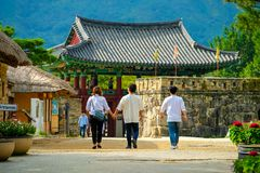 Tourists travel at Naganeupseong Folk Village in Suncheon city of South Korea. stock image