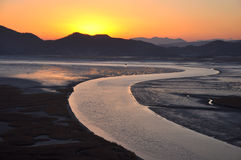 Por do sol na baía de Suncheonman, Coreia do Sul Imagens de Stock