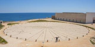 Sunclock in Algarve. Woman at Big Sunclock in Fort of Sagres, Algarve. Portugal stock photos