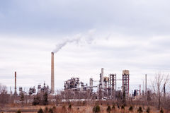 Suncor Energy lubricants refinery in Mississauga, Ontario, Canad. MISSISSAUGA, CANADA - MARCH 15, 2015: The Suncor Energy lubricants plant refines crude oil into royalty free stock photo