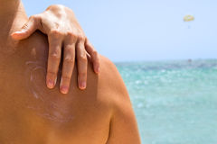 Suncream on the skin Royalty Free Stock Photo