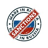 Sunctions tegen Product in het etiketillustratie die van Rusland wordt gemaakt stock foto
