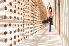 Sund asiatisk kvinna som gör yoga, sunt livsstilbegrepp arkivbilder
