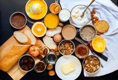 Sund bästa sikt för sortimentfrukosttabell arkivbilder
