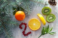Sund feriemat och bantar Beslut för ` s för nytt år om en sund livsstil royaltyfria foton