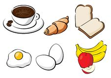 Sund frukost - bröd, ägg, banan, Apple Arkivfoton