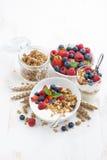 sund frukost med naturliga yoghurt, mysli och bär royaltyfri bild
