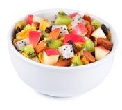 Sund frukost med sädesslag och frukt Royaltyfria Foton