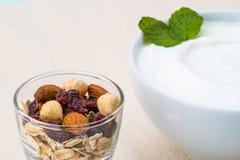 Sund frukost med yoghurten och muttrar som bantar, granola Royaltyfria Bilder