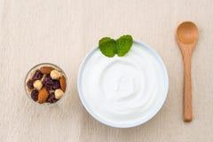 Sund frukost med yoghurten och muttrar som bantar, granola Royaltyfri Foto