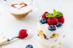 Sund frukost mycket av vitaminer och probioticsen Arkivfoton