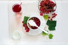 Sund frukost: mysli med yoghurt och nya bär i en bunke och en fruktsaft Arkivfoto