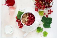 Sund frukost: mysli med yoghurt och nya bär i en bunke och en fruktsaft Royaltyfria Foton