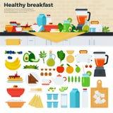 Sund frukost på tabellen i kök Fotografering för Bildbyråer